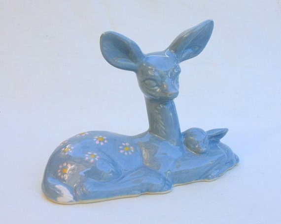 Ceramic Deer Doe and Fawn in Stoneware with Wedgewood Light Blue Glaze