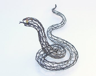 Wire Sculpture Smiling Snake