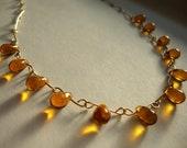 Amber Orange Glass Teardrop Necklace 14k gold fill chain