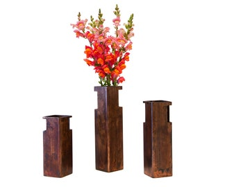 "Sandstone Patina Metal Flower Vase - 12"" Height"