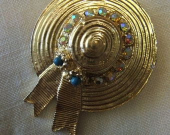 Gold Tone Bonnet Pin with Rhinestones - SALE