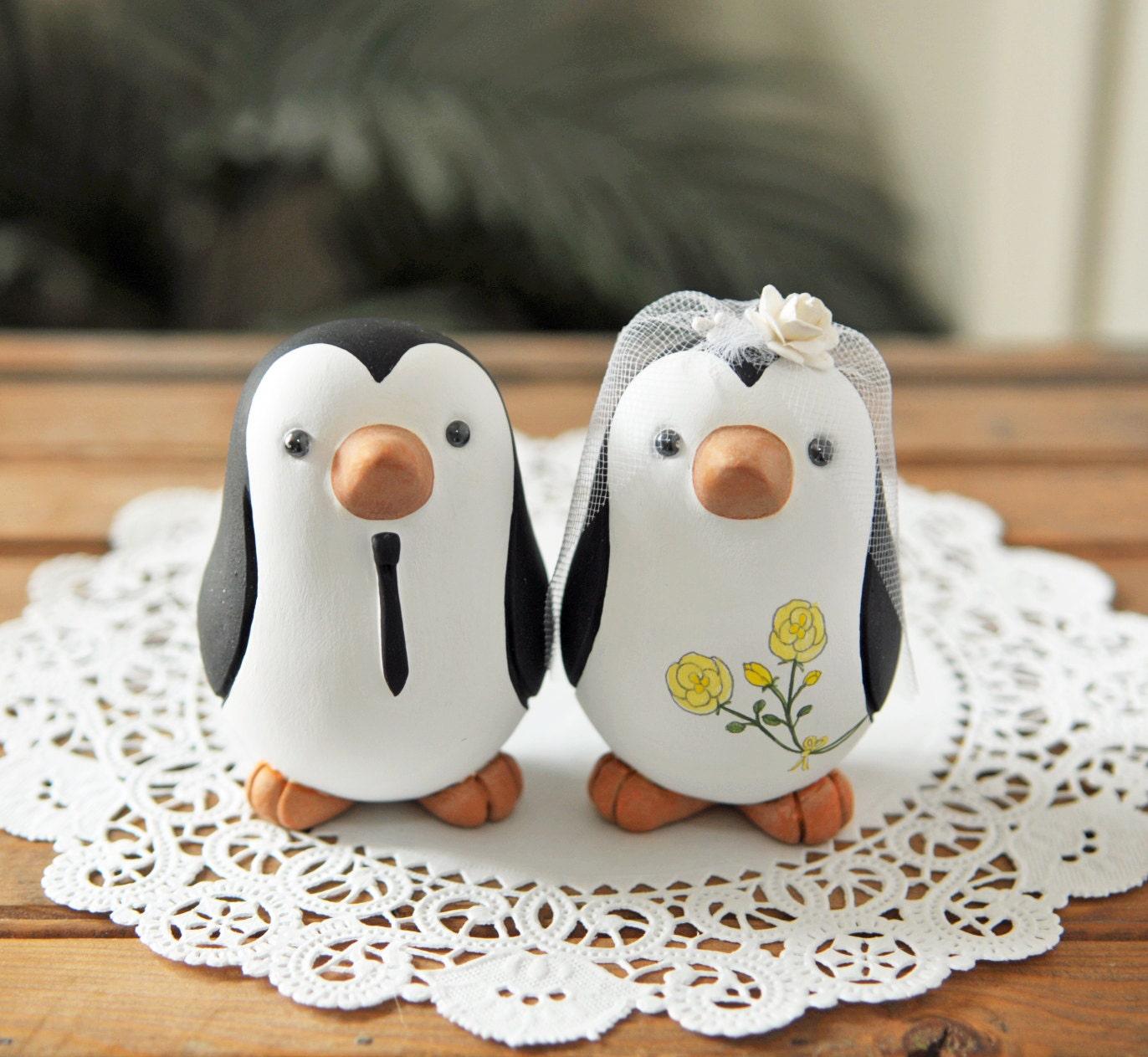 Wedding Cake Toppers Etsy Wedding Cake Topper Penguins