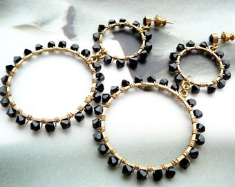 Bling no 3 wire wrapped hoop earrings  -  Swarovski crystal & brass