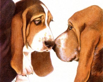 Basset Hound Puppy Dad Print and free matching card