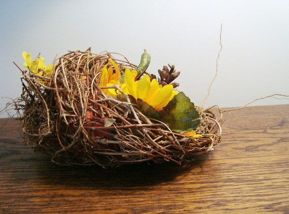 Rustic Easter Decor, Basket Pod, Faux Birds Nest,  Cornucopia Alternative, Woven Rustic Outdoors, Eco Thanksgiving Table, Baby Shower Decor