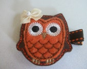 Boutique Embroidered Felt  Fall Owl Clippie  (Item 84) - pachwilliamson