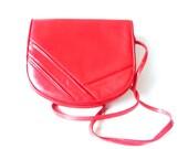 Vintage Geometric Red Purse- Retro Filenes Handbag - Hipster Neon Red