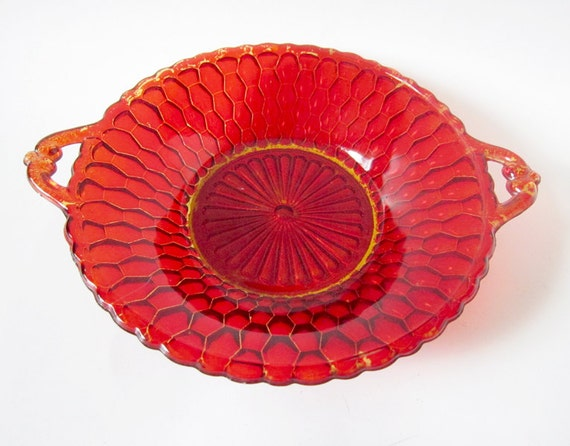 Vintage Red Cranberry Dish - Honeycomb Candy Bowl with Handles