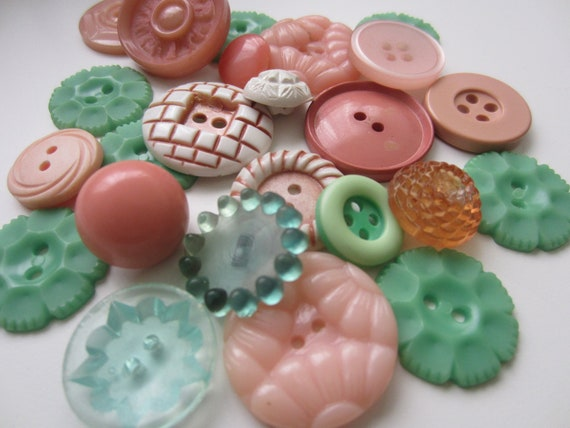 Vintage Buttons - Cottage chic mix of pastels,peachy pinks and greens, old and sweet -25 total (3153)