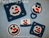 Snowman Kitchen Collection Crochet Pattern 5 Pattern Set