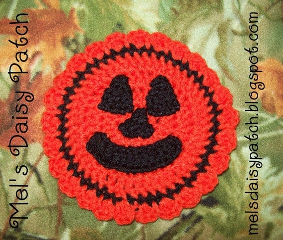 PDF Pattern Jack O' Lantern Pumpkin Round Coaster/ Hot Pad/ Pot Holder/Mug Rug