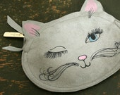 vintage 60s Winking Pretty Blue Eyed Kitty Neiman Marcus Change Purse Small Makeup Bag