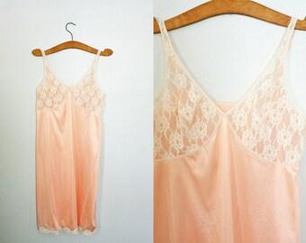 vintage 60s Sears Lace Cup Pale Peach Slip Nightie- Size 38