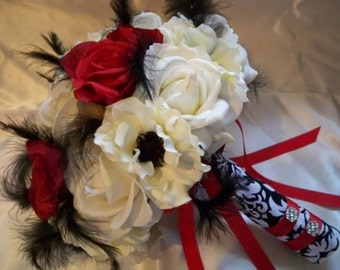 Bridal Bouquet Set Realtouch Rose Silk Red Rose Damask Feather Wedding Bouquet