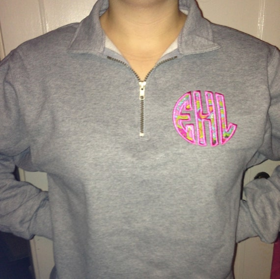 1/4 Zip Oxford Gray Circle Font Applique Monogram Sweatshirt with - Makes A Great Personalized  Christmas Gift