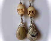 Natural Skull Earrings, Day Of The Dead Earrings, Stone and Skull EarringsHoliday Jewelry, Jewelry Gifts