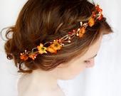 fall hair accessories, bridal hair circlet, autumn flower, burnt orange wedding - FOLKLORIC - halloween headpiece, flower girl head wreath