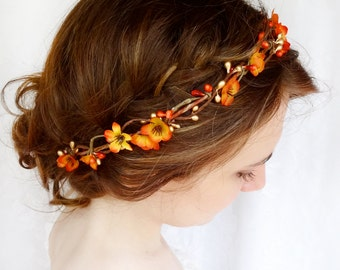 fall headband, fall flower crown, fall flower headband, orange headband, burnt orange wedding, rustic headband, hair vine, floral crown