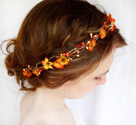 Fall Wedding Hairstyles With Flower Crown: Fall Hair Accessories Bridal Hair Circlet Autumn By