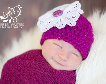 Newborn Fuchsia Sparkle Hat... Photography Prop... Ready to Ship