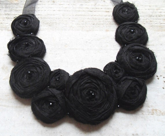 Black Rosette Statement Necklace Ribbon Neckline