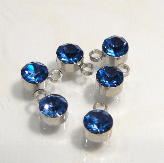 6 Beads...Sapphire Blue Glass Bezel Cup one Station Charm....6x4mm....BB