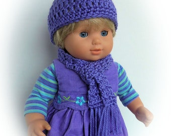 Doll Clothes Made To Fit Bitty Twin, CHOICE OF COLORSl, Crochet Hat and Scarf Set, Fits 15 Inch Doll