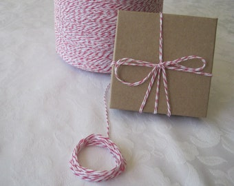 PINK Twine, Pink Bakers Twine, Pink and White Twine, Colored Twine, Cotton Twine, Colored String, On Wood Spool 50 Yards