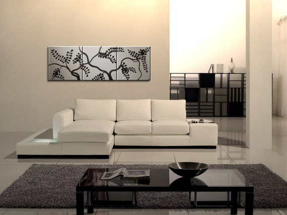White and Black Painting Large Triptych Art Vines Leaves and Branches 72x24 Three Square Paintings