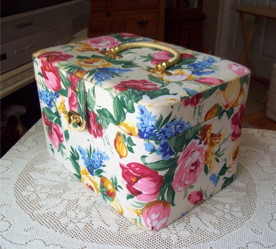RESERVED Train Case Makeup Luggage Floral Fabric Storage Box Vintage Cottage Chic Victorian
