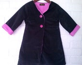 Reserved for Sannon Girl's Grey Corduroy Coat with Pink Fleece Lining