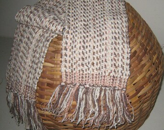 HANDWOVEN SCARF Cotton Rayon Wool