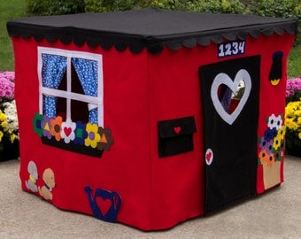 Card Table Playhouse, Play Tent, Fort, Red Double Delight Playhouse, Personalized, Custom Order, As Seen on The Today Show