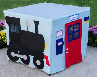 Kids Tablecloth Playhouse, All Aboard Train Station, Fits Your Card Table, Custom Order, Personalized