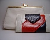 Vintage Wallet RED, WHITE, BLUE and chained handbag                                     BellaVintageANDmore at Etsy