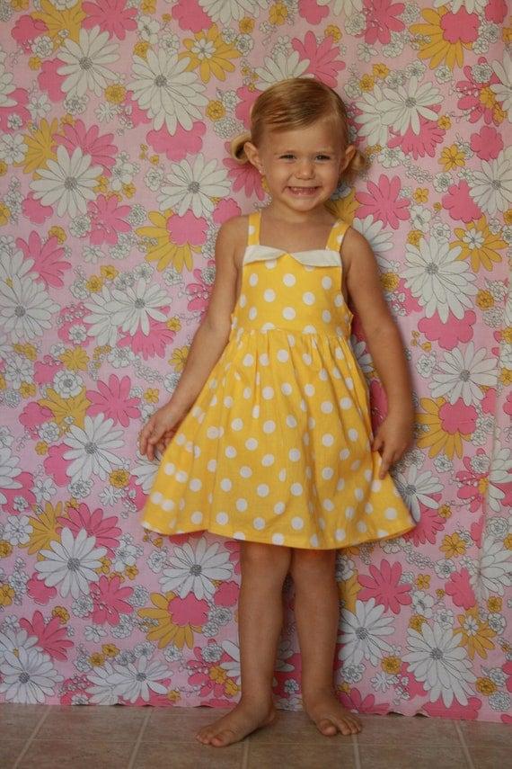 Vintage Inspired Yellow Polka Dot Swing Dress