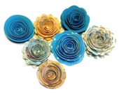 NEW Handmade Spiral Flowers Tropical Wedding,  Set of Seven