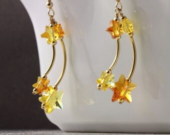 Falling Star Earrings Topaz Yellow Crystal Shooting Star Jewelry Gold Celestial Fashion Girlfriend Gift Under 30