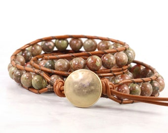Jasper Wrap Bracelet Caramel Leather Wrap Green Boho Wrap Bracelet Rust Bohemian Jewelry 3x Leather Bracelet Boho Jewelry Leather Jewelry