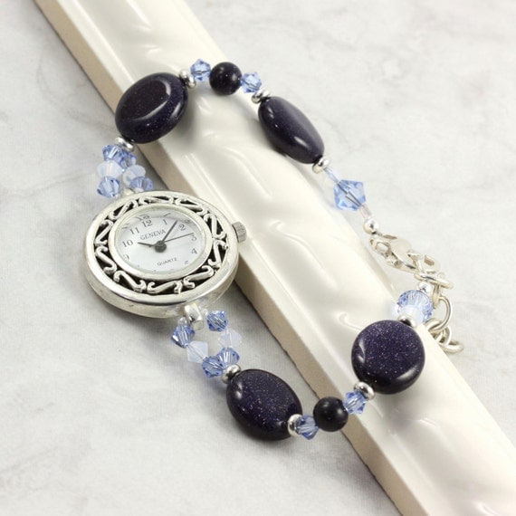 Gemstone Beaded Watch Band Sapphire Blue White Opal Crystal Bracelet