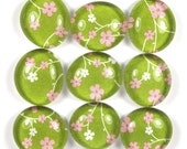 Glass Marble Magnets or Push Pins Set - Apple Blossoms on Green