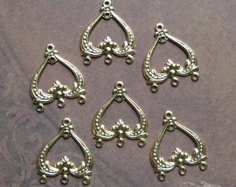 Vintage Metal Stampings Connectors - 3 Hole Floral Dangles Gold Tone Brass (6 pc)