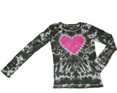 Tie Dye Shirt in Camoflage with a Hot Pink Heart- Girls and Womens Sizes Available