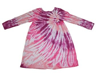 Tie Dye Dress for Girls in a Raspberry Spiral