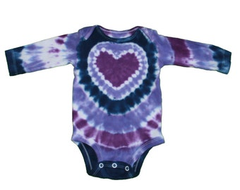 Tie Dye Bodysuit in Navy and Lavender with a Purple Heart Design with Long Sleeves