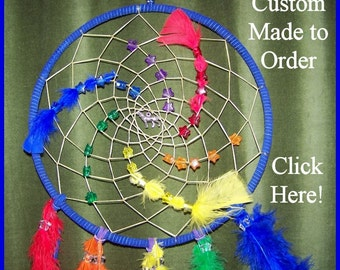 Order a large custom made dream catcher by Shikoba Humma choose colors, feathers, charms,etc.