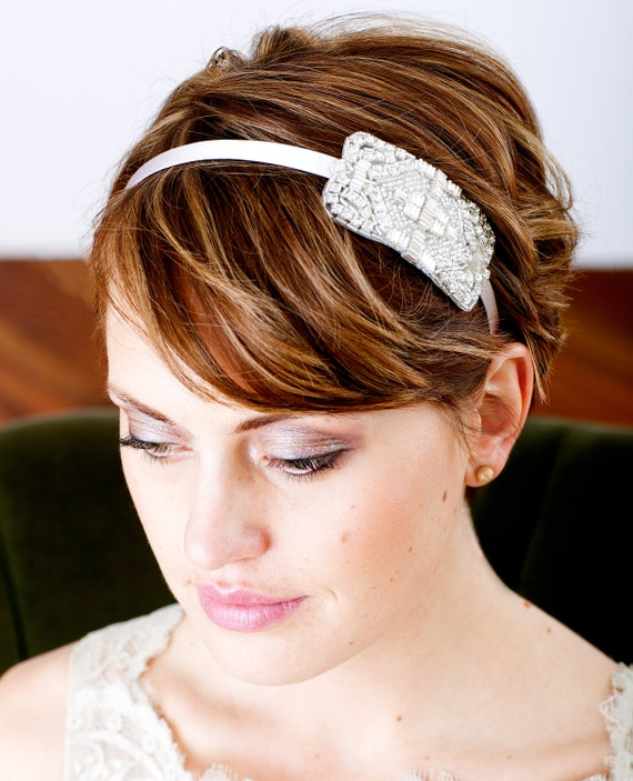 Women's Art Deco Silver Beaded and Rhinestone Headband