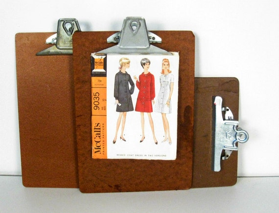 vintage wood clipboards - industrial wall display - collection of 3 - 9 x 12