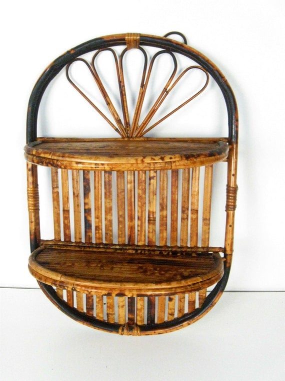 Rattan Wall Decor Round : Vintage rattan half round two tier wall shelf