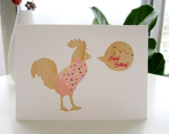 Chicken Birthday Card - illustrated chicken in a pink sweater, Happy birthday, whimsical and sweet handmade card